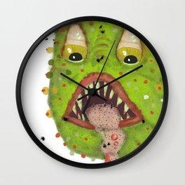 green monster with flies Wall Clock