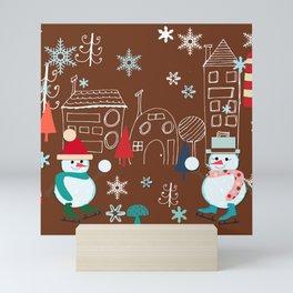 winter fun brown Mini Art Print