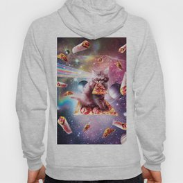 Outer Space Pizza Cat - Rainbow Laser, Taco, Burrito Hoody