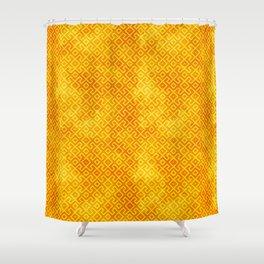 Orange Watercolor & Geometric Pattern Shower Curtain