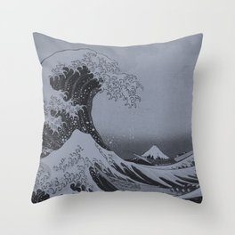 Silver Japanese Great Wave off Kanagawa by Hokusai Throw Pillow