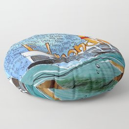 EDMONDS, WASHINGTON the town and the adventures by Seattle Artist Mary Klump Floor Pillow