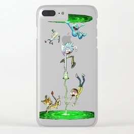 Rick & Morty fall in a portal. Clear iPhone Case