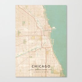Chicago, United States - Vintage Map Canvas Print