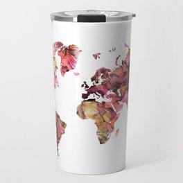 world map flowers pattern Travel Mug