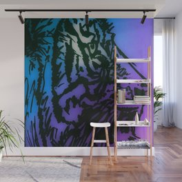 Tiger Style Blue, Purple, Green Wall Mural
