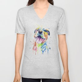 Pit Bull, Pitbull Watercolor Painting - The Softer Side Unisex V-Neck
