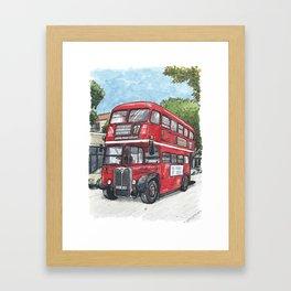 red bus in davis Framed Art Print