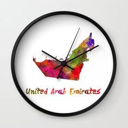 United Arab Emirates in watercolor Wall Clock