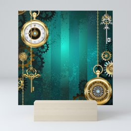Steampunk Jewelry Watch on a Green Background Mini Art Print