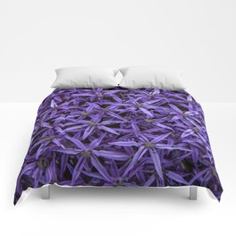 Purple giant garlic flowers Comforters