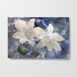 Orchids In Marble Metal Print