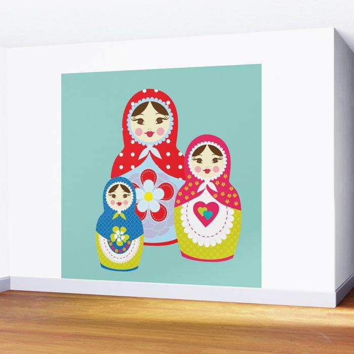 Turquoise babushka , matryoshka , russian doll , nursery decor , children gift, birthday gift Wall Mural