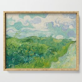 Green Wheat Fields, Auvers, 1890, Vincent van Gogh Serving Tray