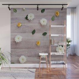 flower tops on wood grain Wall Mural