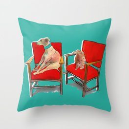 animals in chairs #14 The Greyhound and the Hare Throw Pillow