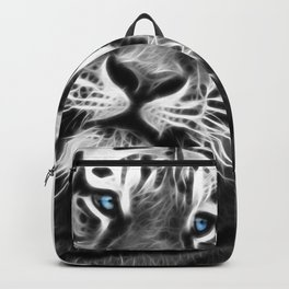 Black and white fractal tiger Backpack