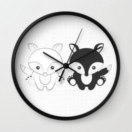 Twins Fox Wall Clock