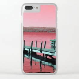 Pier on Cayuga Lake - Red Clear iPhone Case