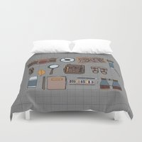 kit king Duvet Covers featuring Explorers kit by Laura Barnes