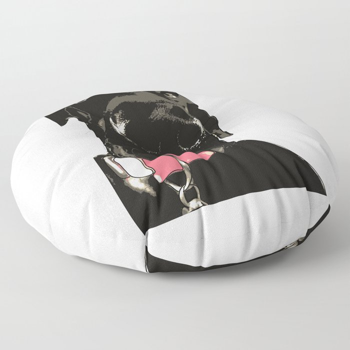 Great Dane Dog (black-pink collar) Floor Pillow