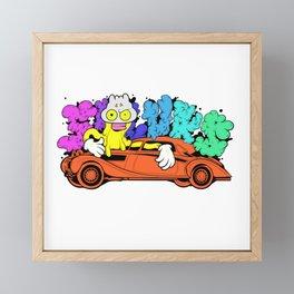 Dope mask cartoon man hugging a vintage car illustration Framed Mini Art Print