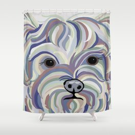 Yorkie Denim Colors Shower Curtain