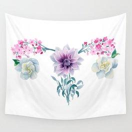 Feminine Strength - Uterus painting - Floral watercolor Wall Tapestry