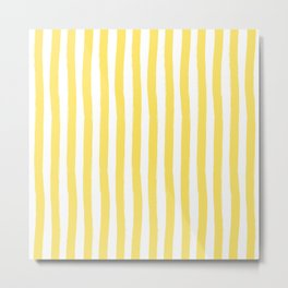 Yellow and White Palm Beach Preppy Cabana Stripes Metal Print