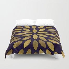 Classic Golden Flower Leaves Pattern Duvet Cover