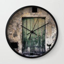 Green Door III Wall Clock