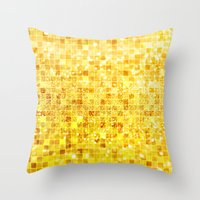 gold glitter Throw Pillows featuring Disco Gold - Glitter by Paula Belle Flores