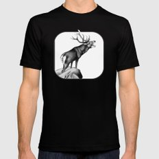 Stag Roaring in the Rut Mens Fitted Tee Black MEDIUM