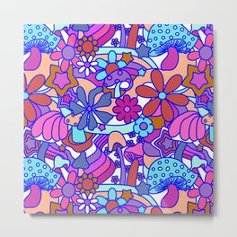 70's Psychedelic Garden in Pink + White Metal Print