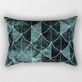 Mermaid scales. Mint and black. Rectangular Pillow