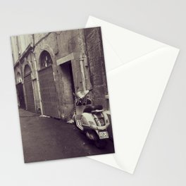 Old alley with a scooter in Montpellier, French city - Black and White Travel Photography Stationery Cards