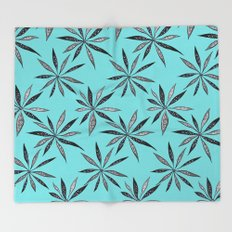 Elegant Thin Flowers With Dots And Swirls Throw Blanket