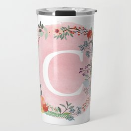 Flower Wreath with Personalized Monogram Initial Letter C on Pink Watercolor Paper Texture Artwork Travel Mug