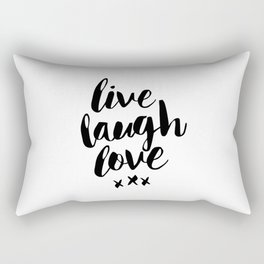 Live Laugh Love black and white wall hangings typography design home wall decor bedroom Rectangular Pillow