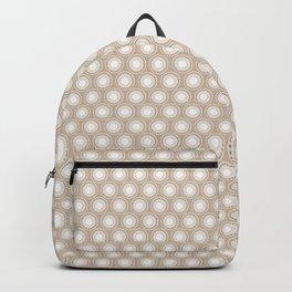 White Polka Dots and Circles Pattern on Pantone Hazelnut Backpack