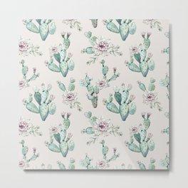 Pretty Cactus Rose Pattern Pale Pink + Green Metal Print