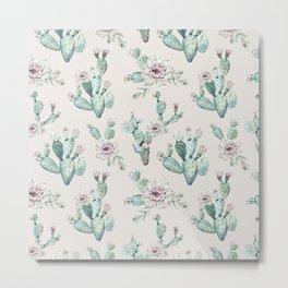Pretty Cactus Rose Pattern Pale Pink + Green Metal Print