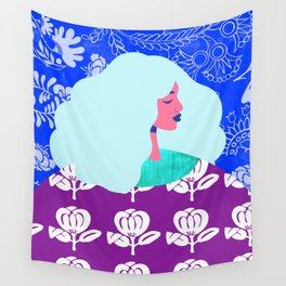 Blue Wallpaper Girl Wall Tapestry
