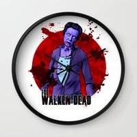 christopher walken Wall Clocks featuring The Walken Dead – The Walking Dead Parody – Christopher Walken Zombie by ptelling