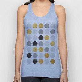 Gray and gold circles Unisex Tank Top