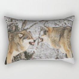 Wolves snarling snow winter forest wildlife Rectangular Pillow