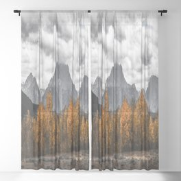 Teton Fall - Autumn Colors and Grand Tetons in Black and White Sheer Curtain