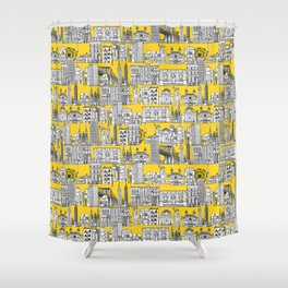New York yellow Shower Curtain