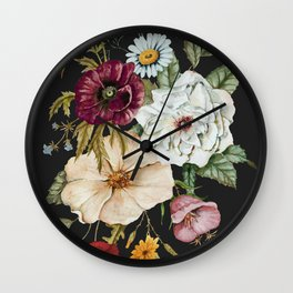 Colorful Wildflower Bouquet on Charcoal Black Wall Clock