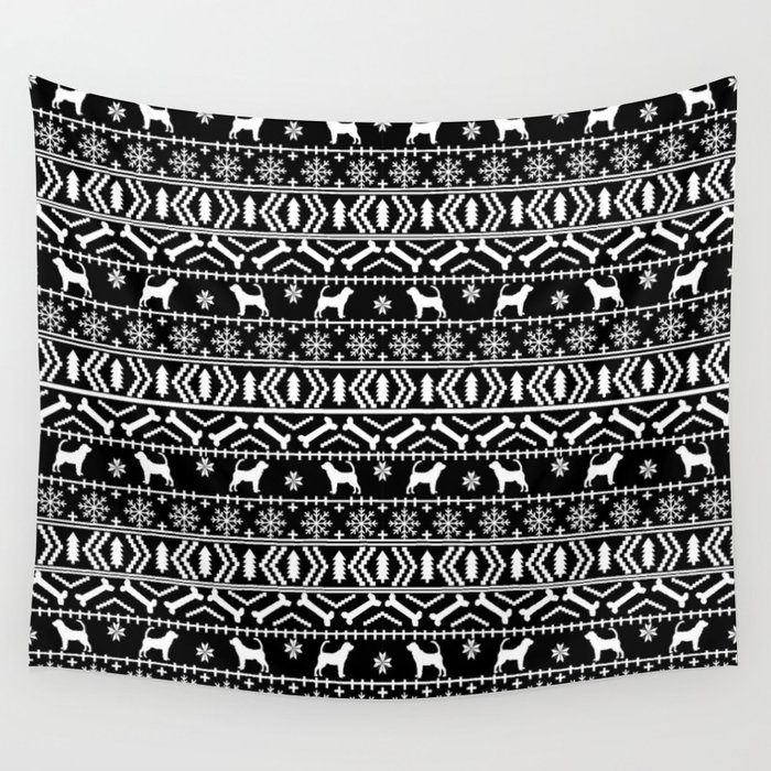 Bloodhound Fair Isle Christmas Sweater Black And White Minimal Dog